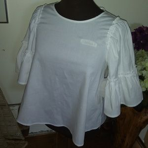 NWT ALTAR'D STATE WHITE CROPPED BABY DOLL TOP S